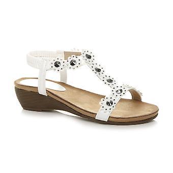 Ajvani kvinner midt hæl Diamante blomst slingback stroppen sommer T-bar sandaler