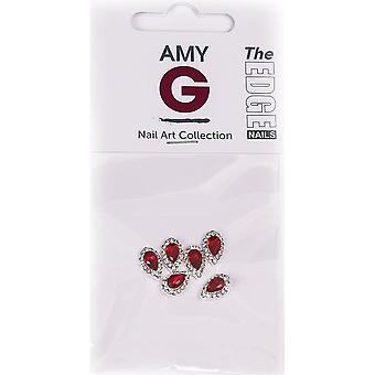 The Edge Nails Amy G - 3D Nail Art Nail Jewels - Ruby Pear (6 PCS) (3003051)