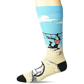 Men's Crew Socks - K Bell - Volleyball Blue (10-13)