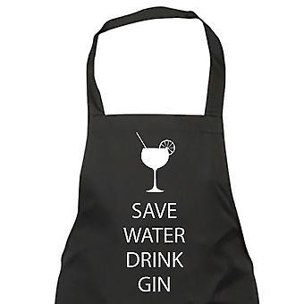 Save Water Drink Gin Black Apron