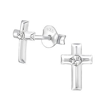 Cross - 925 Sterling Silver Crystal Ear Studs - W22341X