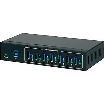 7 ports USB 3.0 hub meets industrial requirements, wall mount option Renkforce Black