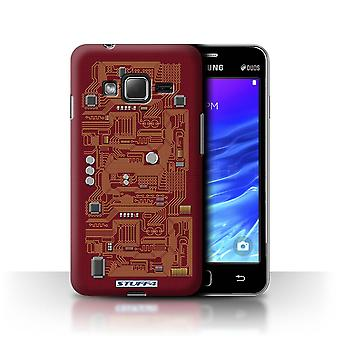 STUFF4 Case/Cover for Samsung Z1/Z130/Red/Circuit Board