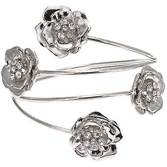 Silver and Crystal Four Rose Armlet Upper Arm Band Bracelet