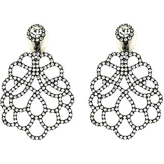 Kenneth Jay Lane Crystal Filigree Chandelier Clip On Earrings