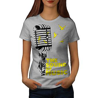 Sound Of Music Sing Microphone Women Grey T-shirt | Wellcoda
