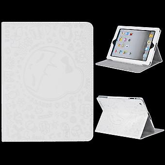 Leather cover with embossed drawings, with support-iPad 2 and 3 (white)