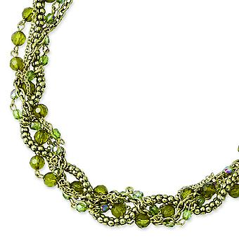 Brass-tone Green Acrylic Beads 16inch With Ext Twisted Necklace