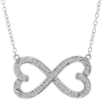 Double Heart Infinity Sign And CZ Necklace In Sterling Silver, 18