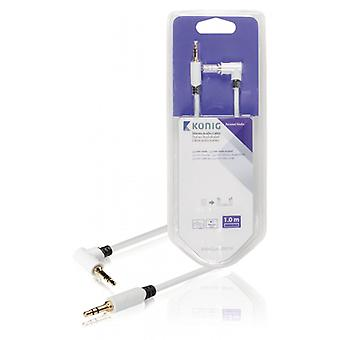 König Stereo Audio Cable 3.5 mm male-male angled 1.00 m white
