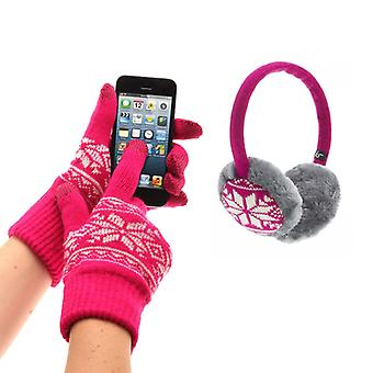 KITSOUND Sleeve and Mitten Kit HörlursMuff Fair Isle Pink