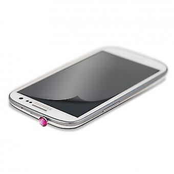White DIAMONDS 3, 5 mm PIN Pink incl Sams. S3 glitter screen protector