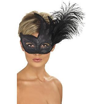 Half-mask black silver sequin feathers Venezia eye mask