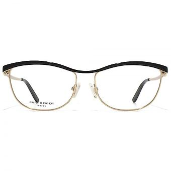 Kurt Geiger Isla Oval Metal Bar Glasses In Gold With Black Brow Bar