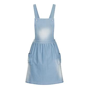 Girl's Stonewash Denim Blue Dungaree Dress Playsuit Skater Skirt