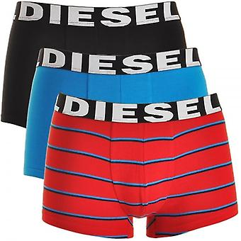 DIESEL 3-Pack Boxer Trunk UMBX-Shawn, Black / Blue / Red Stripe, Large