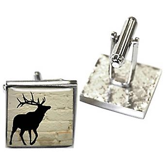 Tyler and Tyler White Brick Stag Cufflinks - Cream/Black/Silver