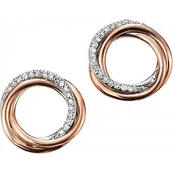 Elements Gold Exquisite 9ct Rose Gold Diamond Open Circle Earrings - Clear/Rose Gold