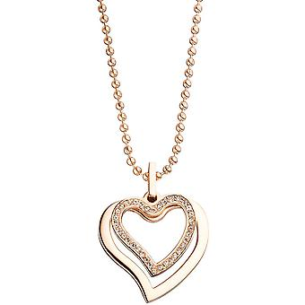 Heart pendant stainless steel rose gold color coated with cubic zirconia heart pendant
