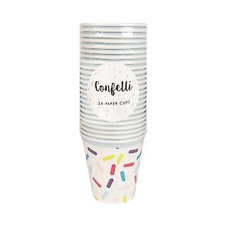 Confetti White With A Multicoloured Design 24 Party Paper Cups 9oz