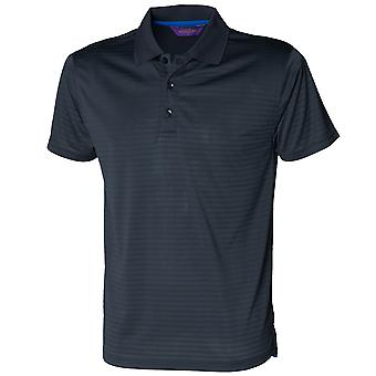 Henbury Mens CoolTouch Textured Stripe Polo Shirt