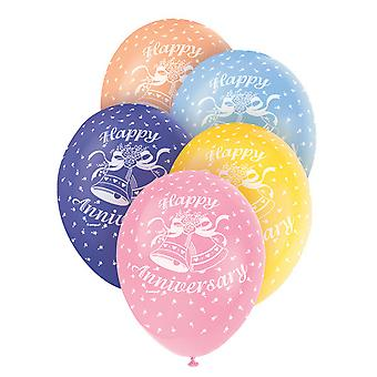 Unique Party 12 Inch Happy Anniversary Assorted Latex Balloons (Pack Of 5)