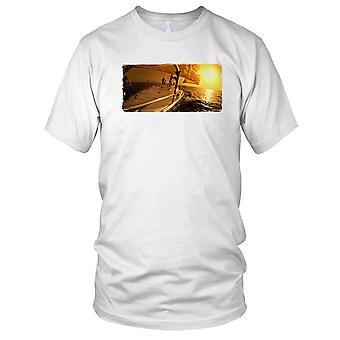 Sailing At Sunset Yacht Ladies T Shirt
