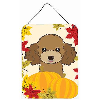 Chocolate Brown Poodle Thanksgiving Wall or Door Hanging Prints