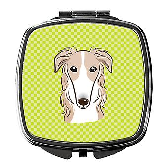 Carolines Treasures  BB1290SCM Checkerboard Lime Green Borzoi Compact Mirror