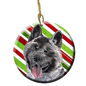 Akita Candy Cane Holiday Christmas keramiske Ornament