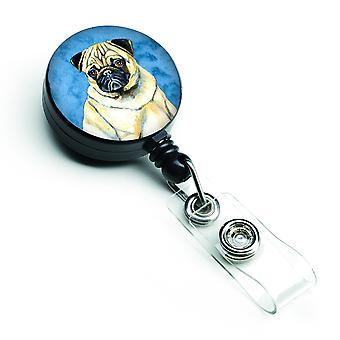 Carolines Treasures  LH9387BUBR Blue Pug Retractable Badge Reel