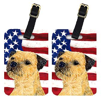 Pair of USA American Flag with Border Terrier Luggage Tags