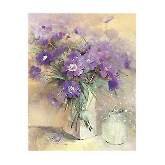 Vase mit lila Blumen Poster Kunstdruck von Peter McGowan (16 x 20)