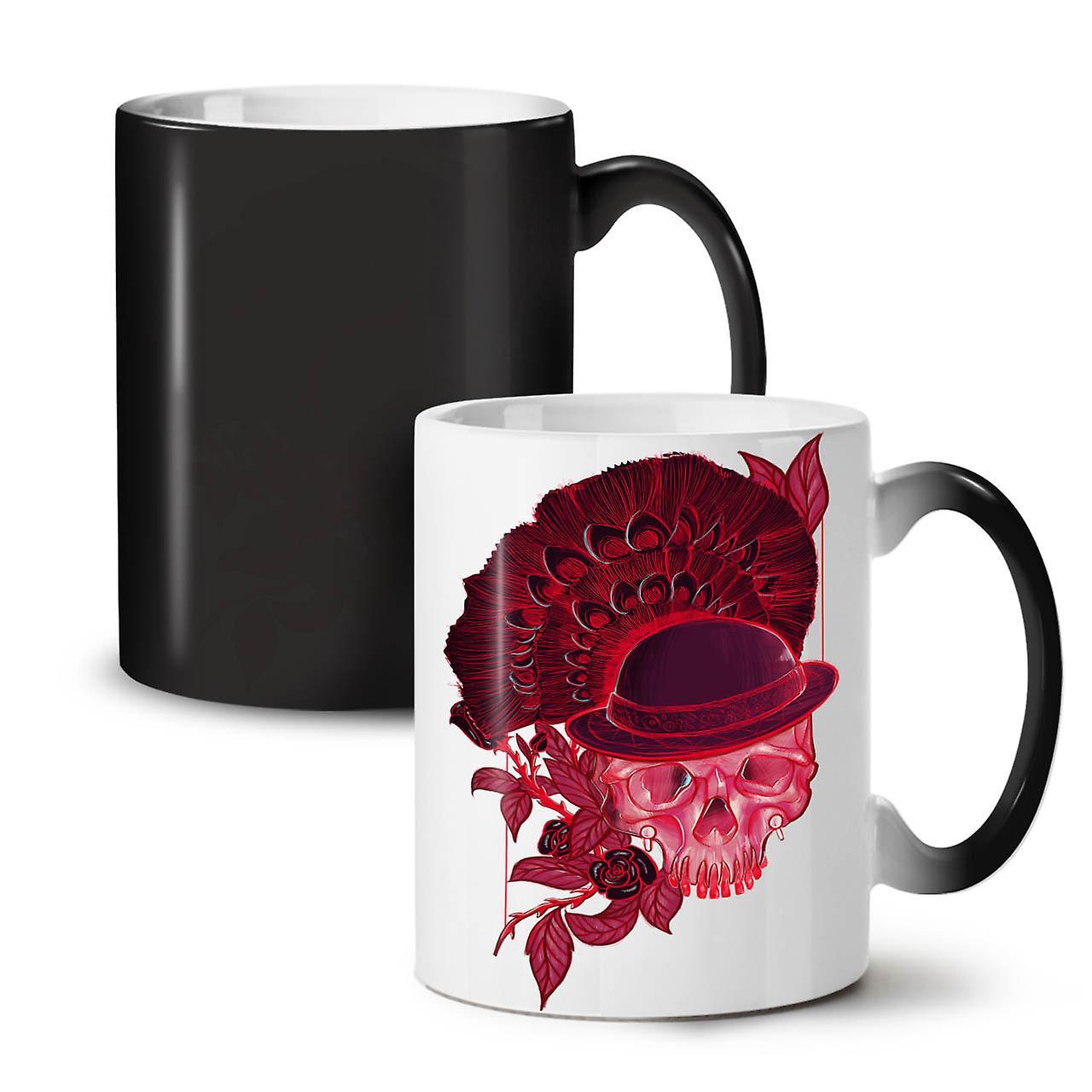 Nouveau Tasse 11 Noir Café Céramique Rouge Crâne Changeant Coloris Thé OzWellcoda sdhCQxtr