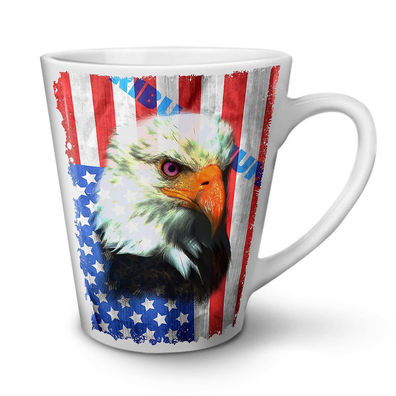 Drapeau De Liberté Thé Blanc Tasse 12 OzWellcoda Aigle Latte La Nouveau Café Céramique En Usa Rj534qAL