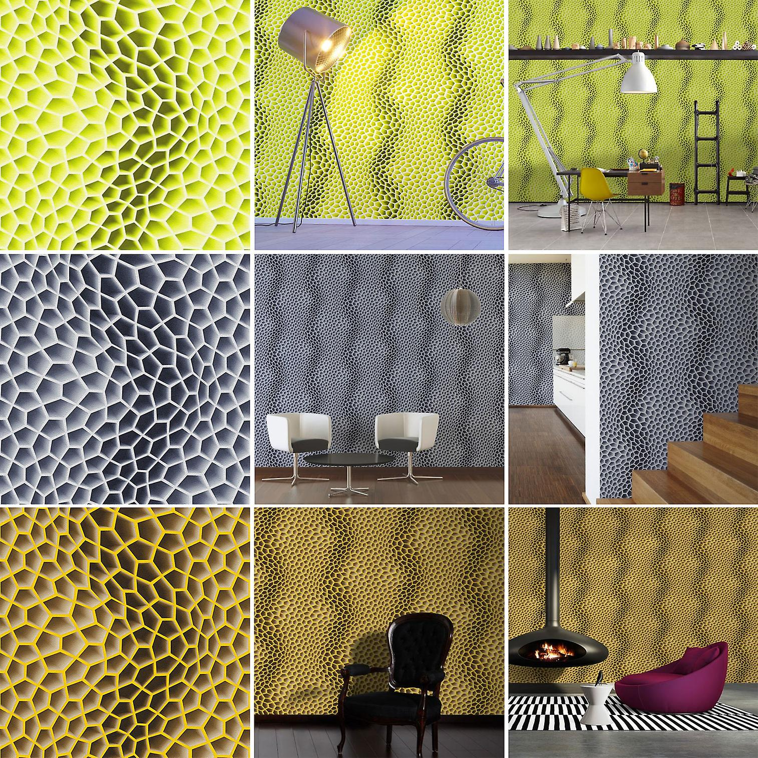 3D Wallpaper Geometric Retro Funky Paste The Wall Textured Vinyl AS Creation