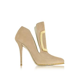 Balmain women's W6CES011104105 beige suede leather heel shoes