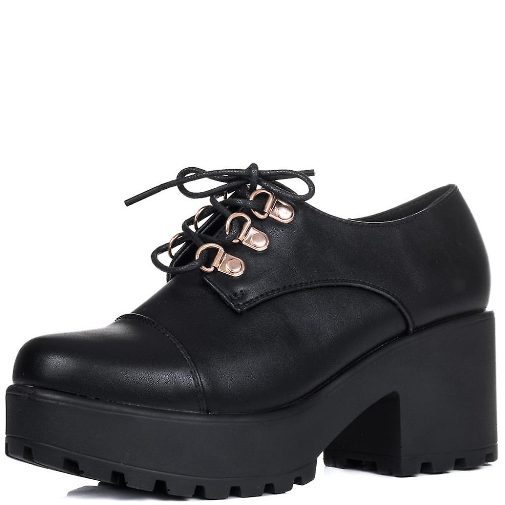 Shoes Black Heel Up Boots Eyelets Leather Lace TIGER Ankle Style Block With Ox0YA