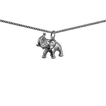 Colgante de plata 20x19mm enorme elefante con una pulgadas de la acera cadena 18