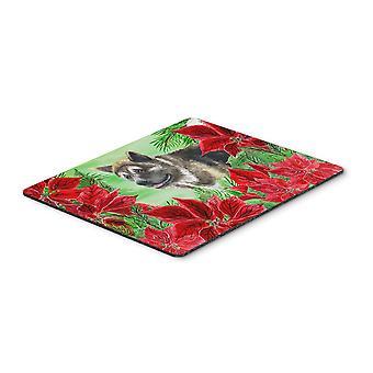 American Akita Poinsettas Mouse Pad, Hot Pad or Trivet