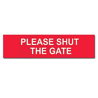 ASEC Self Adhesive `Please Shut The Gate` Sign 200mm X 50mm