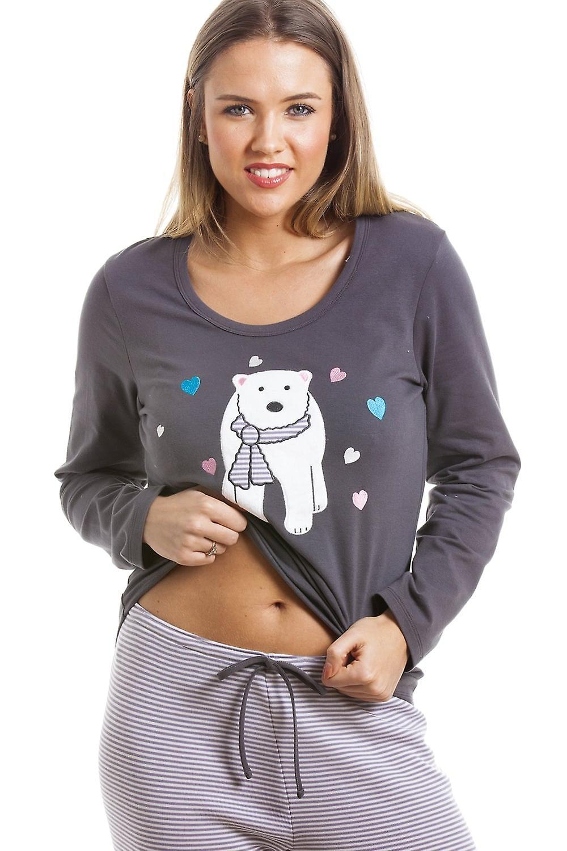 1df5f9b677 Camille Grey And White Striped Full Length Polar Bear Motif Pyjama ...