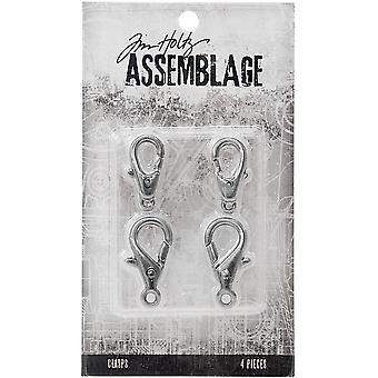Tim Holtz Assemblage Clasps 4/Pkg-Large Silver Lobster Claws THA20053