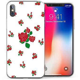 iPhone X красные розы ТПУ геля - белый