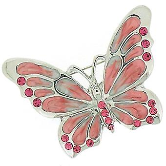 Brooches Store Pink Enamel and Light Rose Crystal Butterfly Brooch