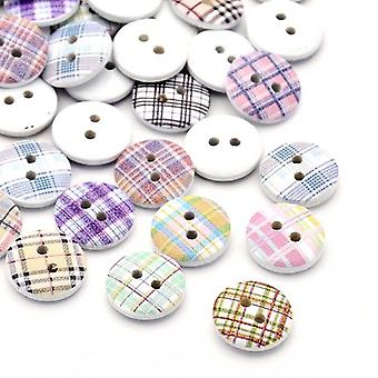 Packet 30 x Mixed/White Wood 15mm Round 2-Holed Patterned Sew On Buttons Y00785