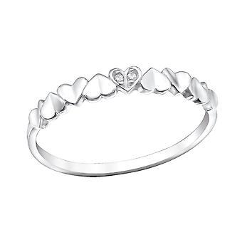 Heart - 925 Sterling Silver Jewelled Rings - W30970X