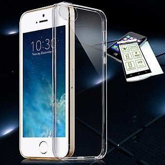 Silikoncase transparant + 0.3 H9 kogelbestendig glas voor Apple iPhone SE / 5 / 5s