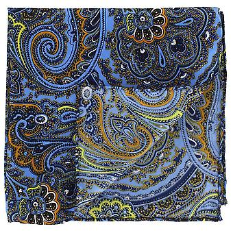 Michelsons of London Bright Paisley Silk Pocket Square - Blue