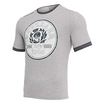 2018-2019 Scotland Macron Rugby Travel Polycotton T-Shirt (Light Grey)